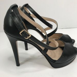 Max Mara Leather Heels Italy Strap Pump Peep Toe
